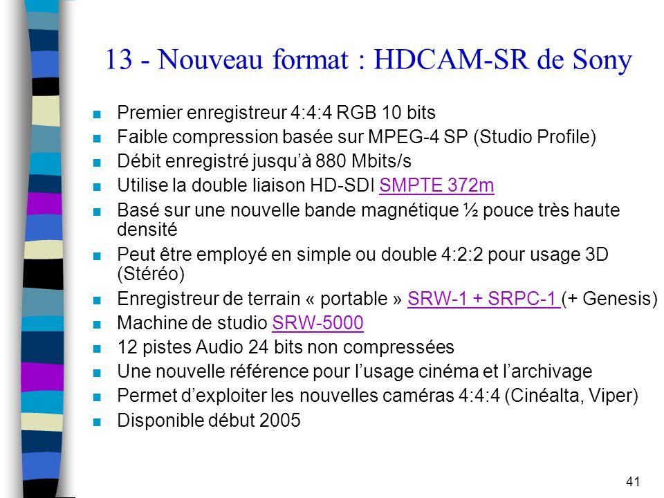 41 13 - Nouveau format : HDCAM-SR de Sony n Premier enregistreur 4:4:4 RGB 10 bits n Faible compression basée sur MPEG-4 SP (Studio Profile) n Débit e