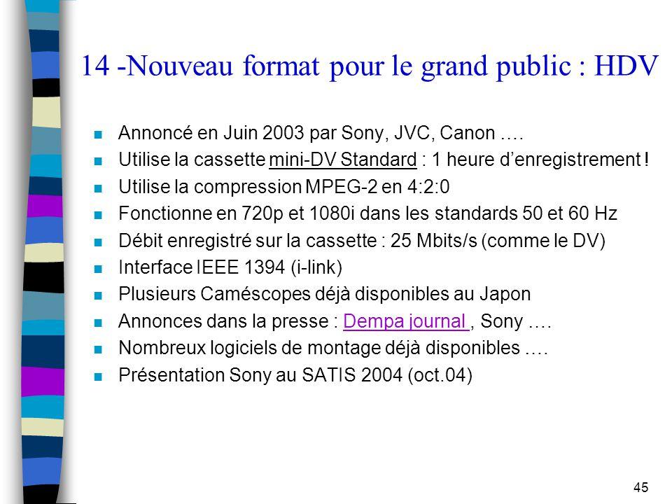 45 14 -Nouveau format pour le grand public : HDV n Annoncé en Juin 2003 par Sony, JVC, Canon …. n Utilise la cassette mini-DV Standard : 1 heure d'enr