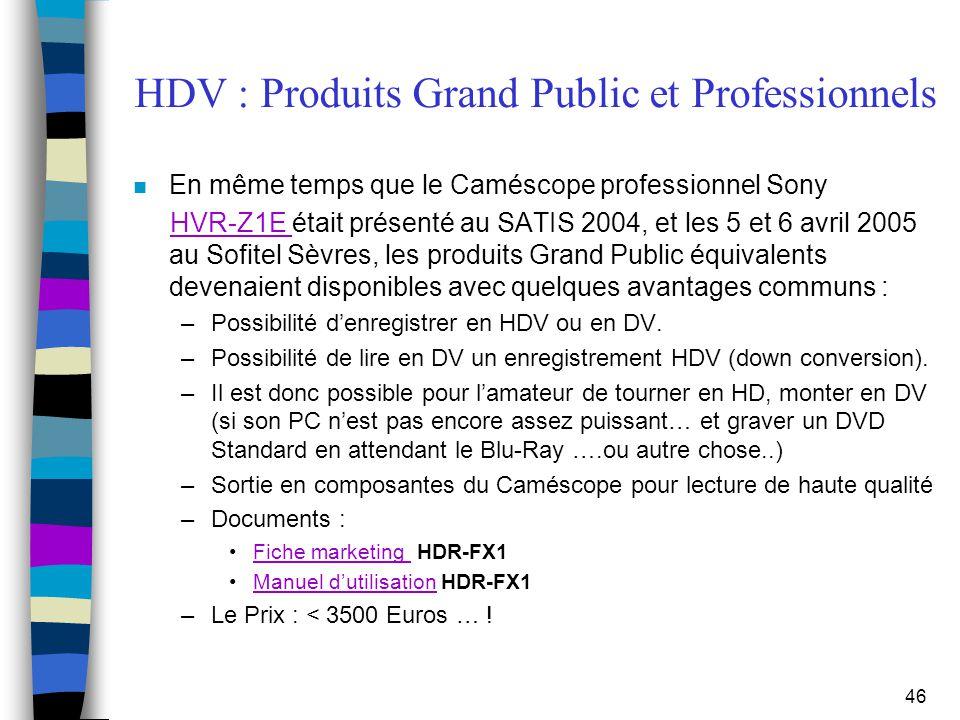 46 HDV : Produits Grand Public et Professionnels n En même temps que le Caméscope professionnel Sony HVR-Z1E était présenté au SATIS 2004, et les 5 et