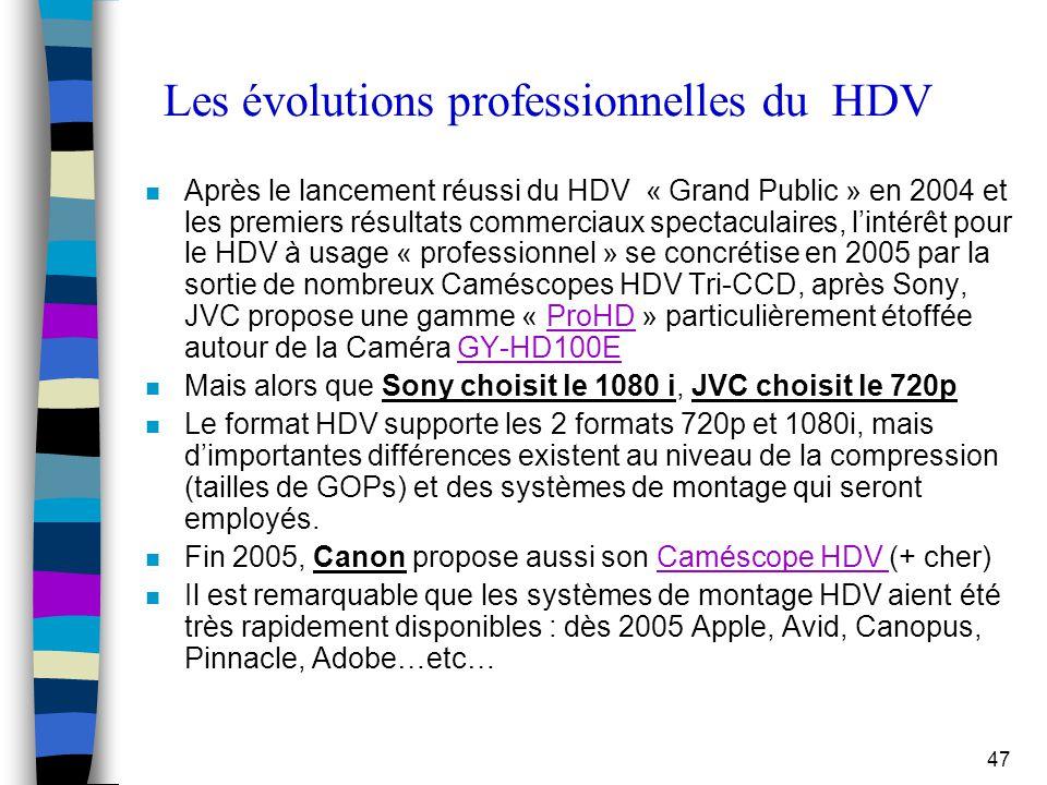 47 Les évolutions professionnelles du HDV n Après le lancement réussi du HDV « Grand Public » en 2004 et les premiers résultats commerciaux spectacula