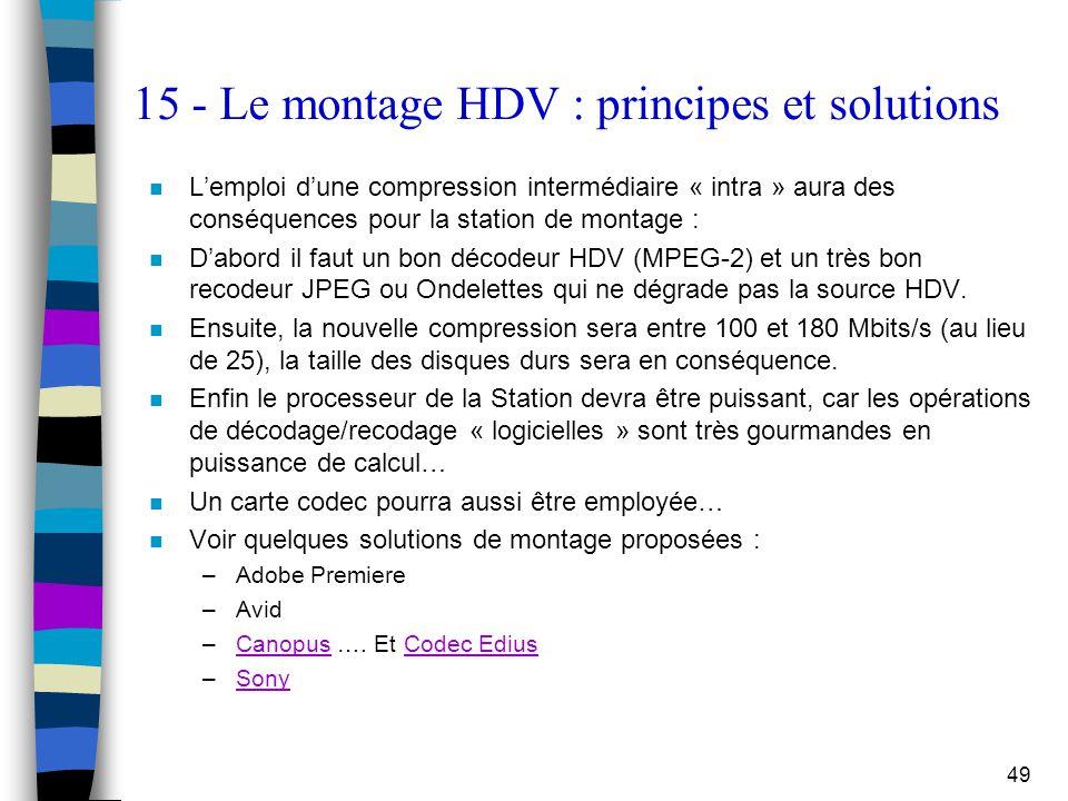 49 15 - Le montage HDV : principes et solutions n L'emploi d'une compression intermédiaire « intra » aura des conséquences pour la station de montage