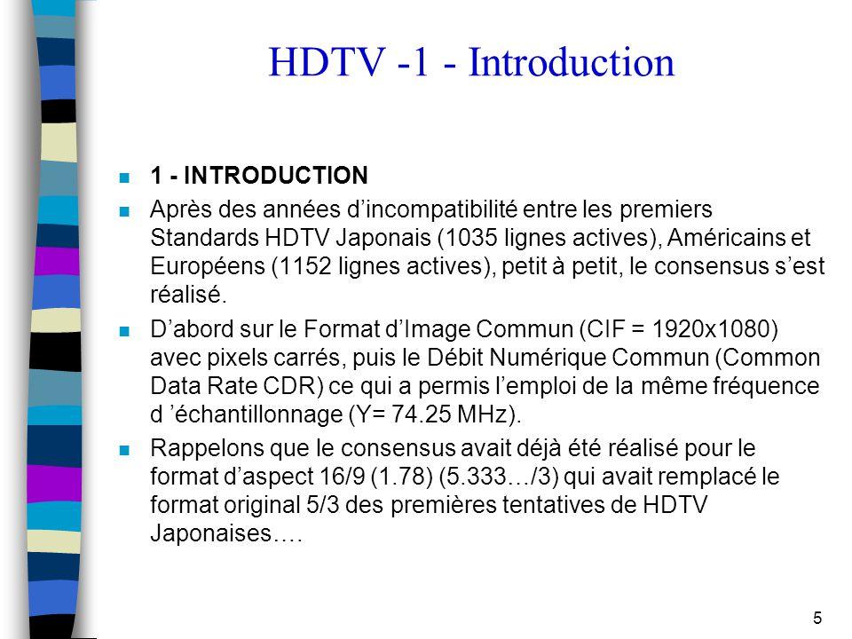 5 HDTV -1 - Introduction 1 - INTRODUCTION n Après des années d'incompatibilité entre les premiers Standards HDTV Japonais (1035 lignes actives), Améri