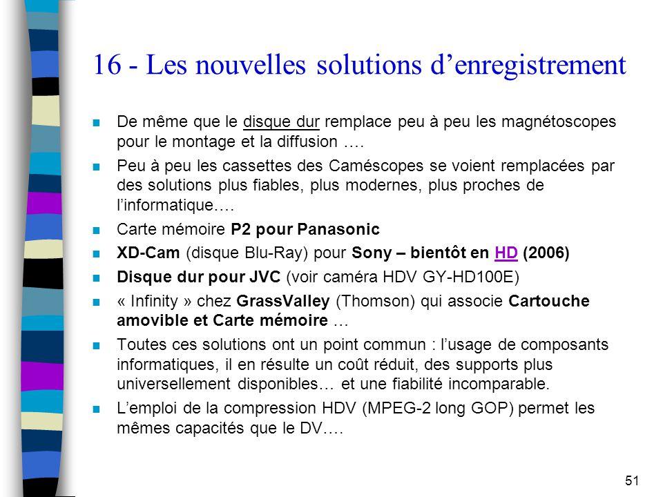51 16 - Les nouvelles solutions d'enregistrement n De même que le disque dur remplace peu à peu les magnétoscopes pour le montage et la diffusion …. n