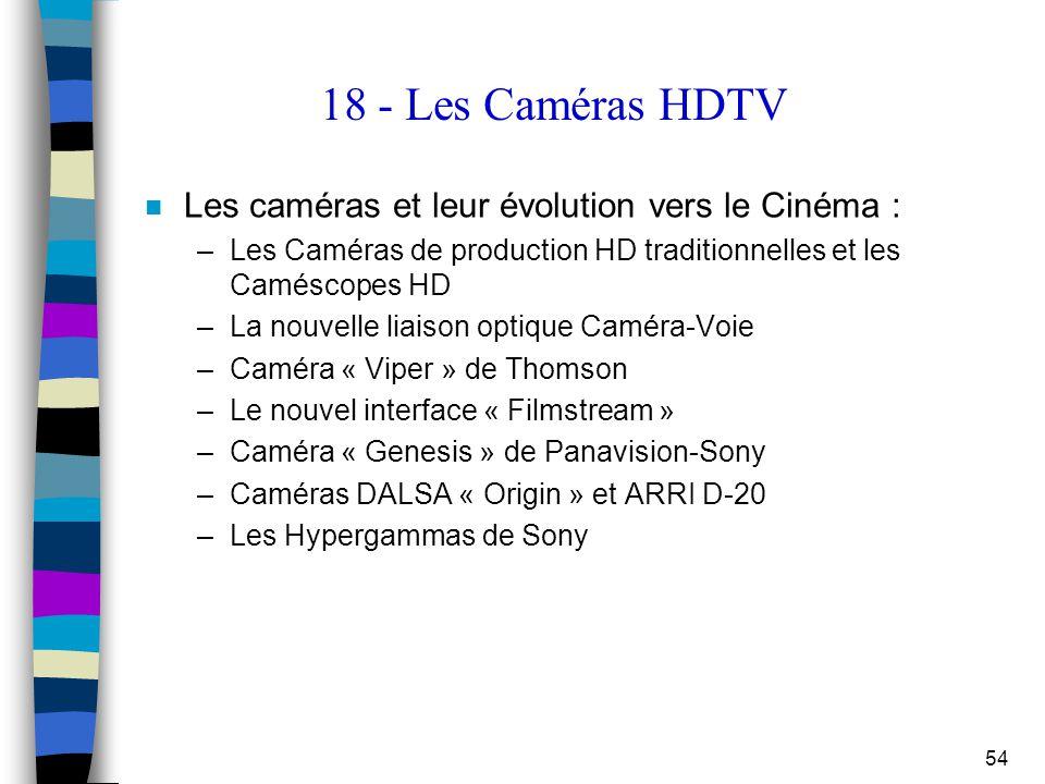 54 18 - Les Caméras HDTV n Les caméras et leur évolution vers le Cinéma : –Les Caméras de production HD traditionnelles et les Caméscopes HD –La nouve