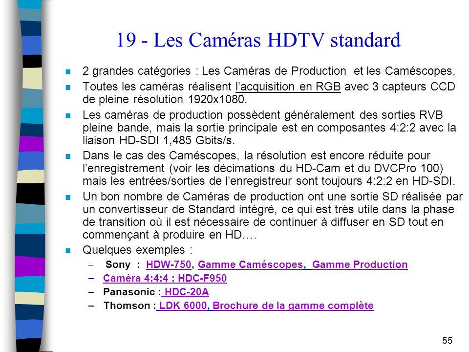 55 19 - Les Caméras HDTV standard n 2 grandes catégories : Les Caméras de Production et les Caméscopes. n Toutes les caméras réalisent l'acquisition e