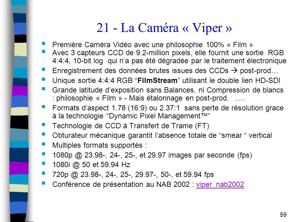 59 21 - La Caméra « Viper »  Première Caméra Vidéo avec une philosophie 100% « Film »  Avec 3 capteurs CCD de 9.2-million pixels, elle fournit une s