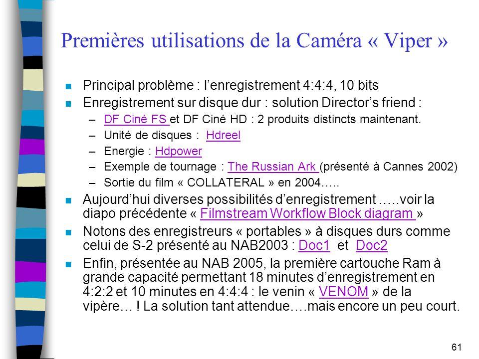 61 Premières utilisations de la Caméra « Viper » n Principal problème : l'enregistrement 4:4:4, 10 bits n Enregistrement sur disque dur : solution Dir