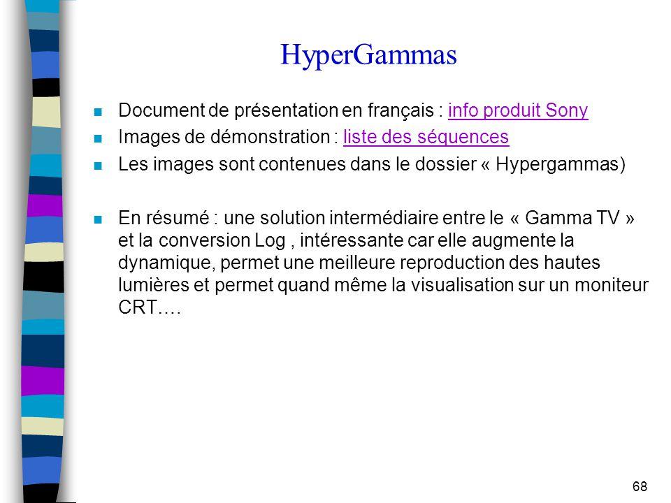68 HyperGammas n Document de présentation en français : info produit Sonyinfo produit Sony n Images de démonstration : liste des séquencesliste des sé