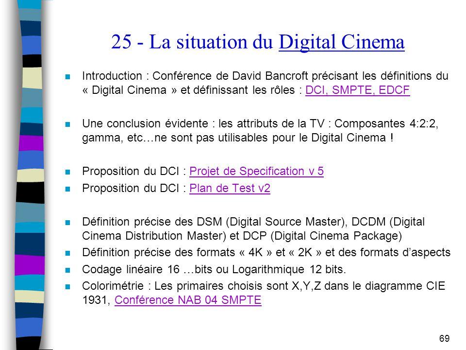 69 25 - La situation du Digital Cinema n Introduction : Conférence de David Bancroft précisant les définitions du « Digital Cinema » et définissant le