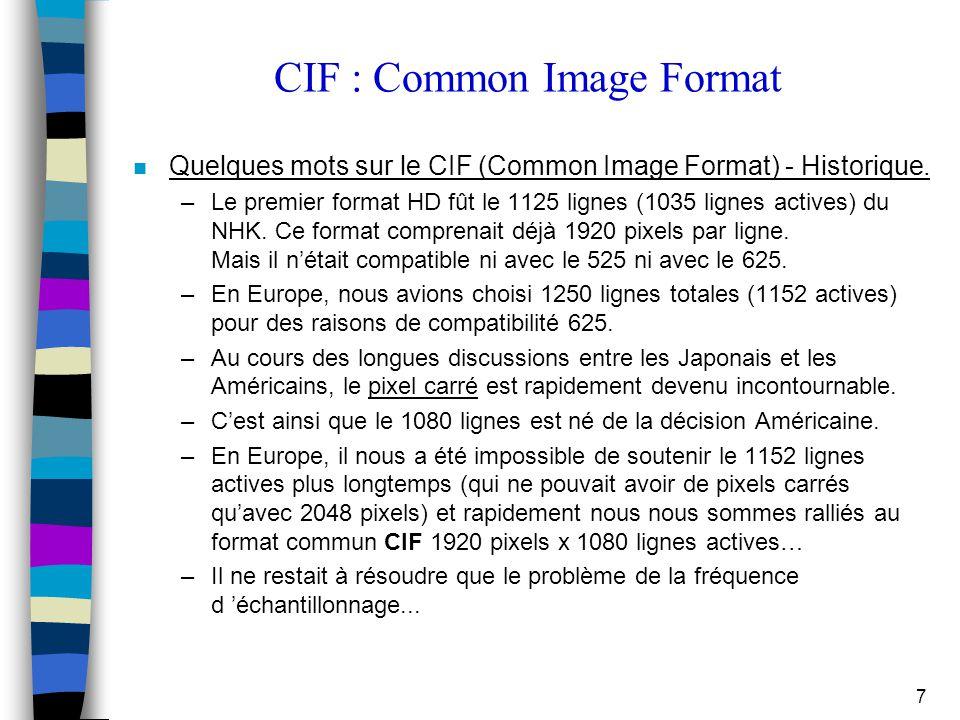 7 CIF : Common Image Format n Quelques mots sur le CIF (Common Image Format) - Historique. –Le premier format HD fût le 1125 lignes (1035 lignes activ