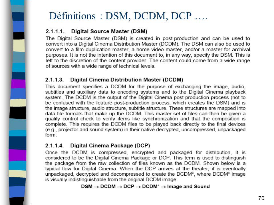 70 Définitions : DSM, DCDM, DCP ….