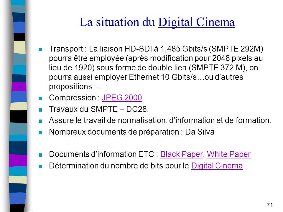 71 La situation du Digital Cinema n Transport : La liaison HD-SDI à 1,485 Gbits/s (SMPTE 292M) pourra être employée (après modification pour 2048 pixe