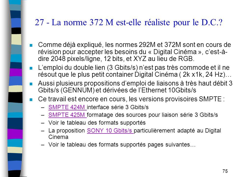 75 27 - La norme 372 M est-elle réaliste pour le D.C.? n Comme déjà expliqué, les normes 292M et 372M sont en cours de révision pour accepter les beso