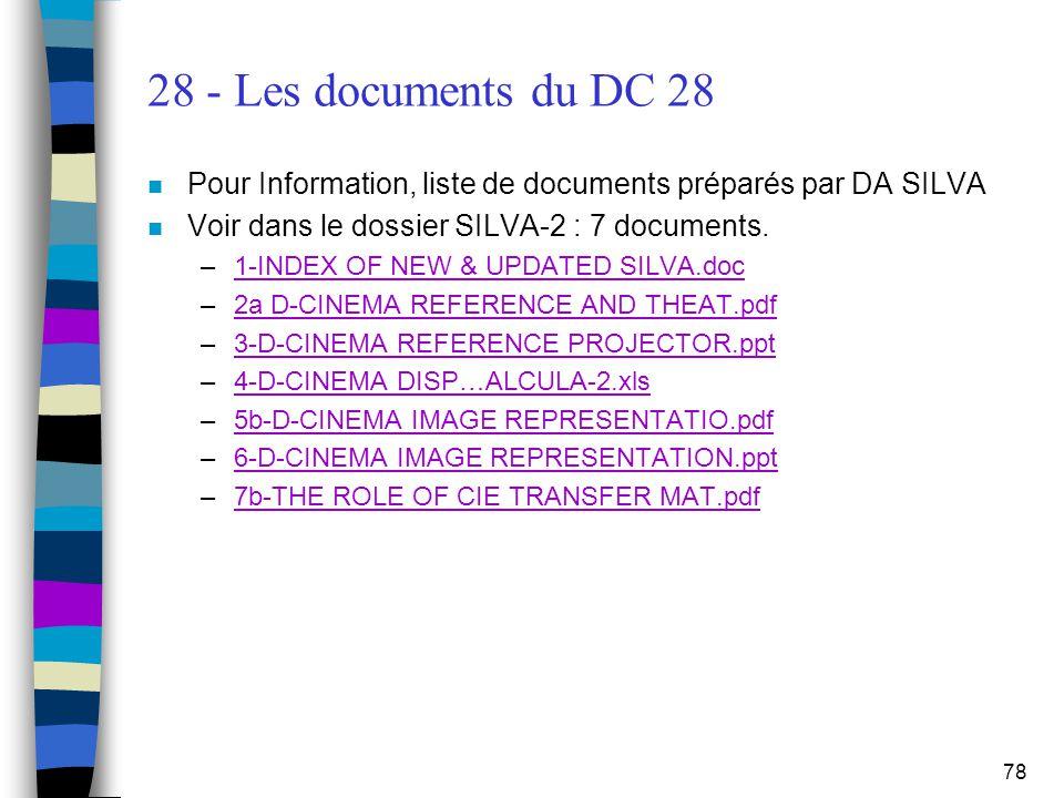 78 28 - Les documents du DC 28 n Pour Information, liste de documents préparés par DA SILVA n Voir dans le dossier SILVA-2 : 7 documents. –1-INDEX OF