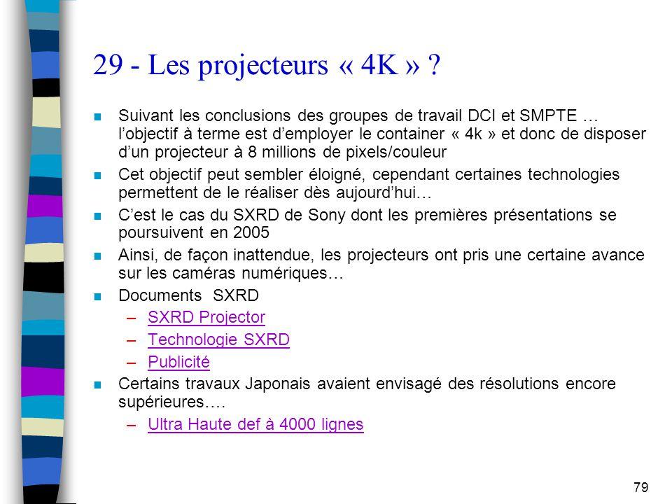 79 29 - Les projecteurs « 4K » ? n Suivant les conclusions des groupes de travail DCI et SMPTE … l'objectif à terme est d'employer le container « 4k »