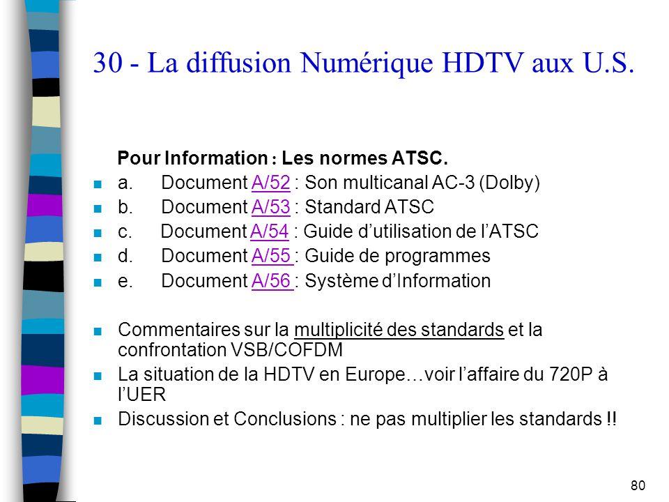 80 30 - La diffusion Numérique HDTV aux U.S. Pour Information : Les normes ATSC. n a. Document A/52 : Son multicanal AC-3 (Dolby)A/52 n b. Document A/