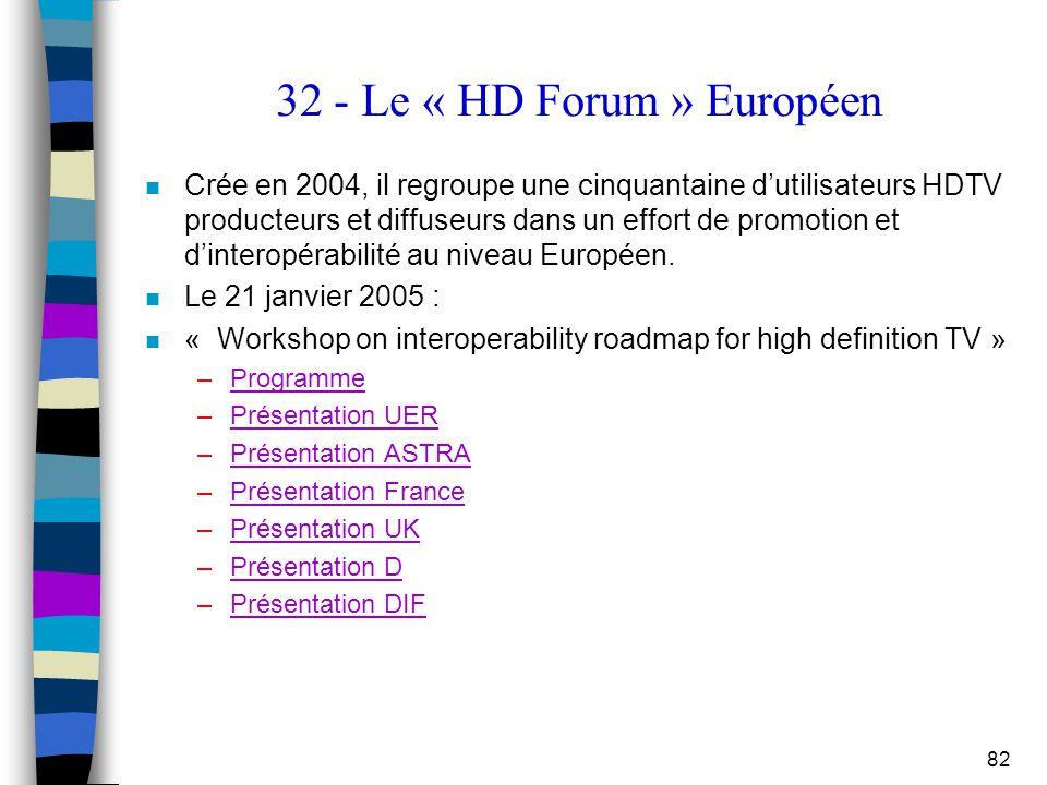 82 32 - Le « HD Forum » Européen n Crée en 2004, il regroupe une cinquantaine d'utilisateurs HDTV producteurs et diffuseurs dans un effort de promotio