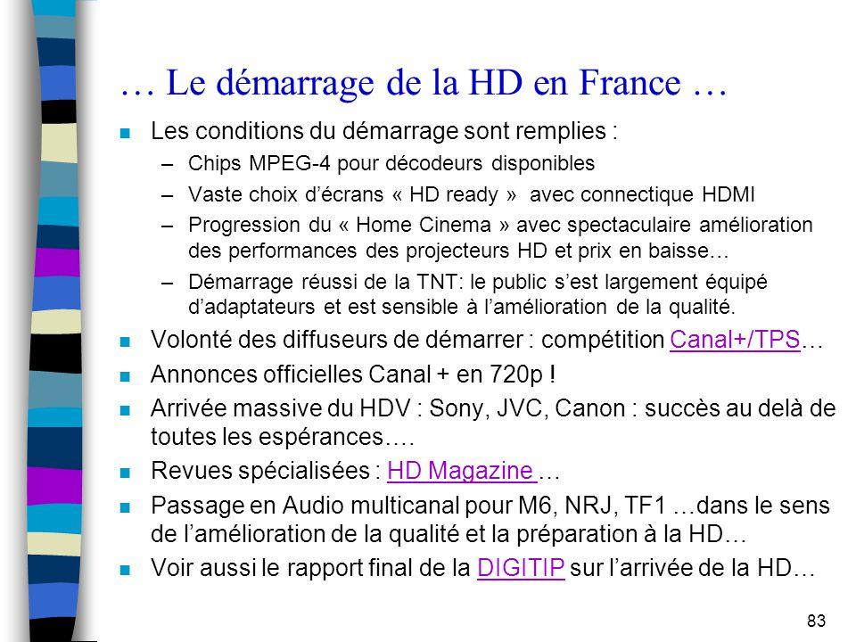 83 … Le démarrage de la HD en France … n Les conditions du démarrage sont remplies : –Chips MPEG-4 pour décodeurs disponibles –Vaste choix d'écrans «