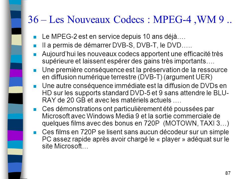 87 36 – Les Nouveaux Codecs : MPEG-4,WM 9.. n Le MPEG-2 est en service depuis 10 ans déjà…. n Il a permis de démarrer DVB-S, DVB-T, le DVD….. n Aujour