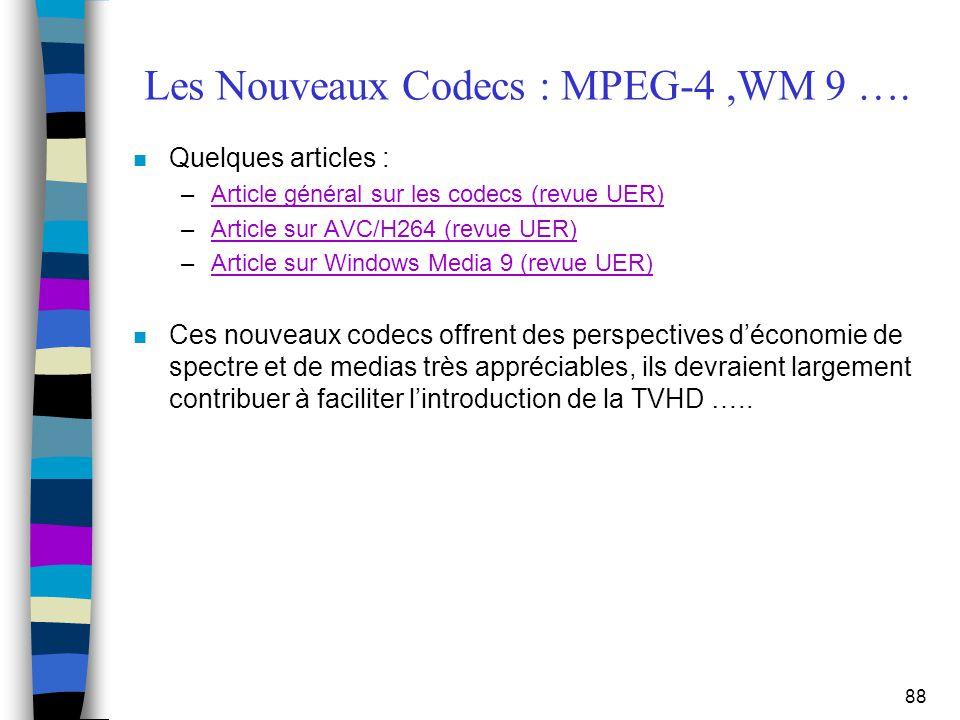 88 Les Nouveaux Codecs : MPEG-4,WM 9 …. n Quelques articles : –Article général sur les codecs (revue UER)Article général sur les codecs (revue UER) –A