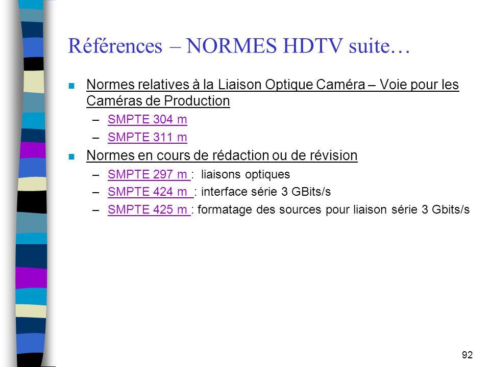 92 Références – NORMES HDTV suite… n Normes relatives à la Liaison Optique Caméra – Voie pour les Caméras de Production –SMPTE 304 mSMPTE 304 m –SMPTE