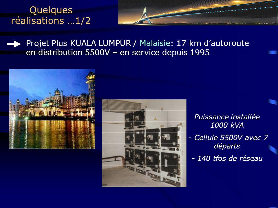 Quelques réalisations …1/2 Projet Plus KUALA LUMPUR / Malaisie: 17 km d'autoroute en distribution 5500V – en service depuis 1995 Puissance installée 1000 kVA - Cellule 5500V avec 7 départs - 140 tfos de réseau