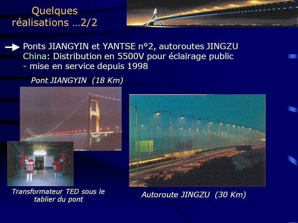 Quelques réalisations …2/2 Ponts JIANGYIN et YANTSE n°2, autoroutes JINGZU China: Distribution en 5500V pour éclairage public - mise en service depuis 1998 Pont JIANGYIN (18 Km) Autoroute JINGZU (30 Km) Transformateur TED sous le tablier du pont