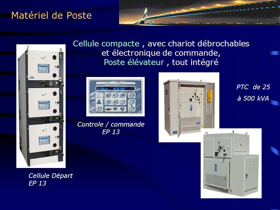 Matériel de Poste Cellule compacte, avec chariot débrochables et électronique de commande, Poste élévateur, tout intégré Cellule Départ EP 13 Controle / commande EP 13 PTC de 25 à 500 kVA