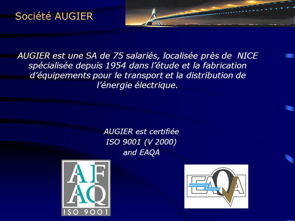 Société AUGIER AUGIER est une SA de 75 salariés, localisée près de NICE spécialisée depuis 1954 dans l'étude et la fabrication d'équipements pour le transport et la distribution de l'énergie électrique.