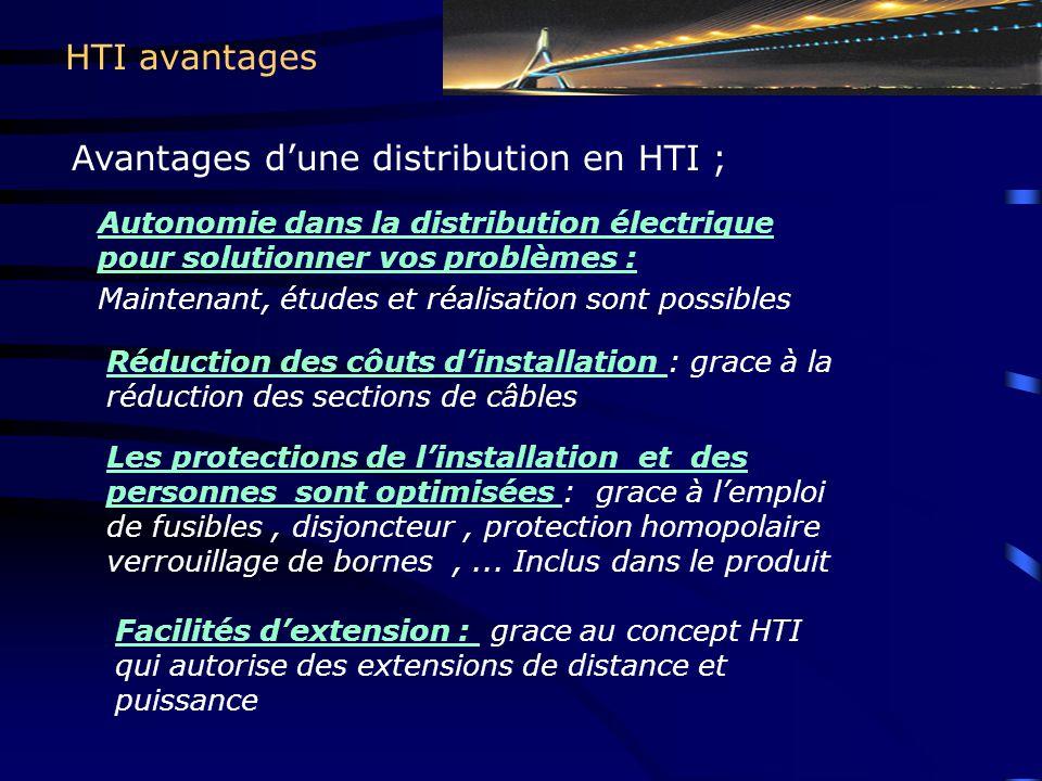 HTI avantages Autonomie dans la distribution électrique pour solutionner vos problèmes : Maintenant, études et réalisation sont possibles Réduction de