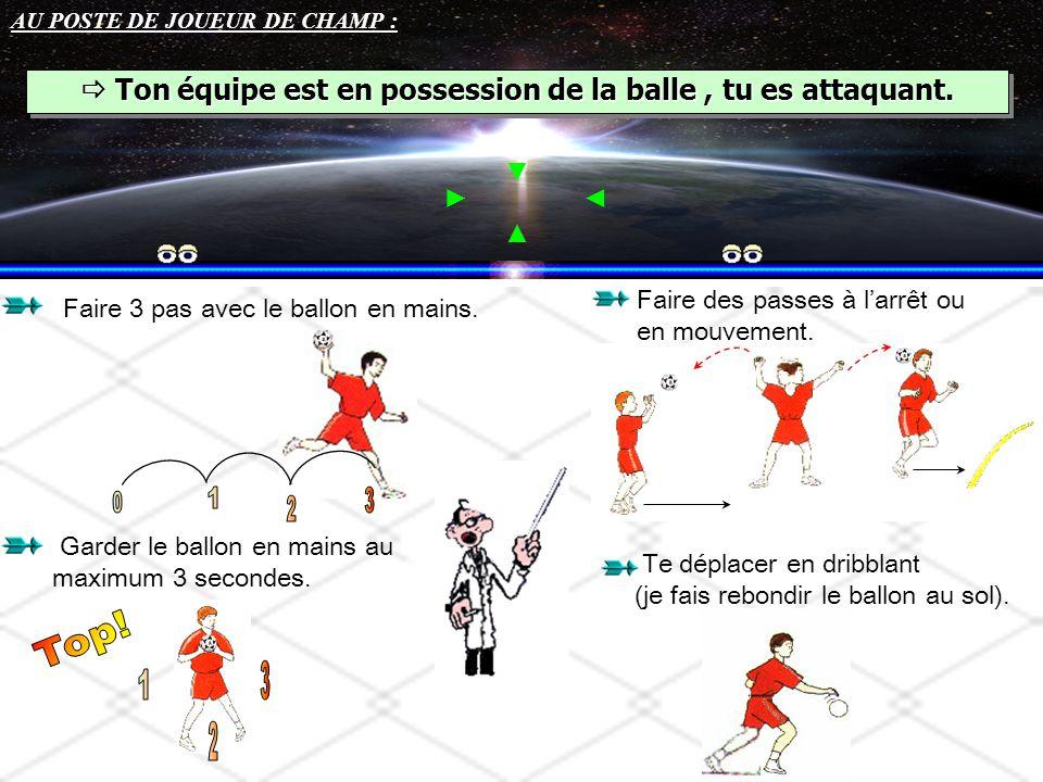AU POSTE DE JOUEUR DE CHAMP :  Ton équipe est en possession de la balle, tu es attaquant. Faire 3 pas avec le ballon en mains. Garder le ballon en ma