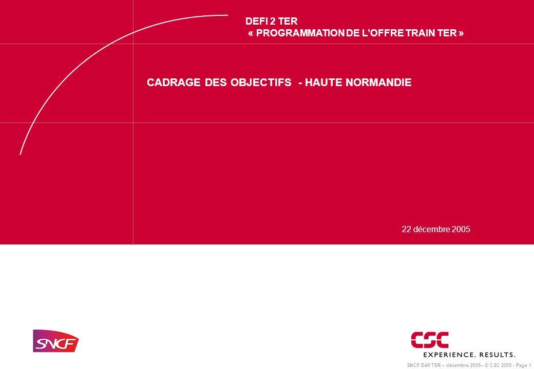SNCF Défi TER – décembre 2005– © CSC 2005 - Page 1 DEFI 2 TER « PROGRAMMATION DE L'OFFRE TRAIN TER » CADRAGE DES OBJECTIFS - HAUTE NORMANDIE 22 décembre 2005