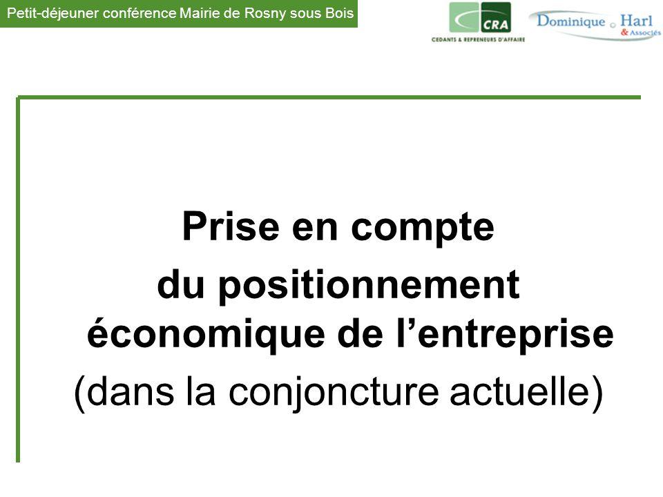 Petit-déjeuner conférence Mairie de Rosny sous Bois 1 Prise en compte du positionnement économique de l'entreprise (dans la conjoncture actuelle)