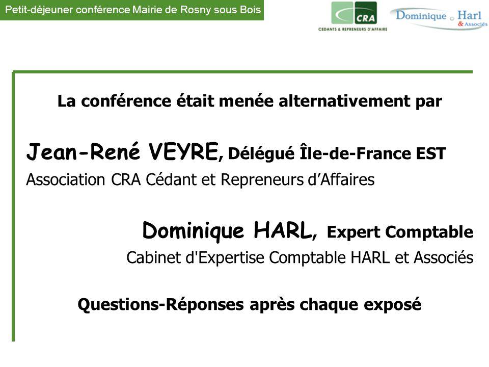 1 La conférence était menée alternativement par Jean-René VEYRE, Délégué Île-de-France EST Association CRA Cédant et Repreneurs d'Affaires Dominique H