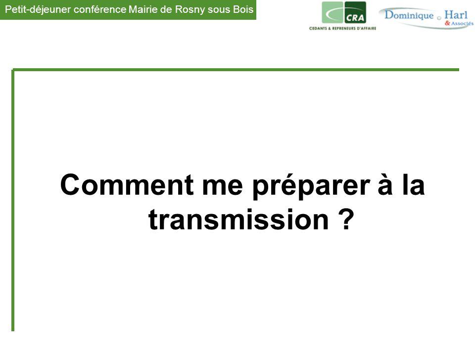 Petit-déjeuner conférence Mairie de Rosny sous Bois 1 Comment me préparer à la transmission ?