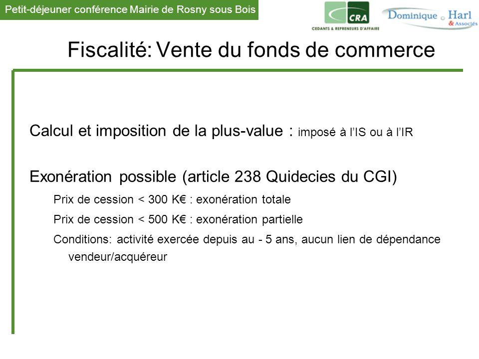 Petit-déjeuner conférence Mairie de Rosny sous Bois 1 Fiscalité: Vente du fonds de commerce Calcul et imposition de la plus-value : imposé à l'IS ou à