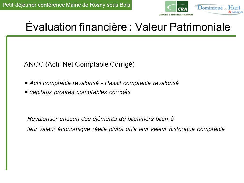 Petit-déjeuner conférence Mairie de Rosny sous Bois 1 Évaluation financière : Valeur Patrimoniale ANCC (Actif Net Comptable Corrigé) = Actif comptable