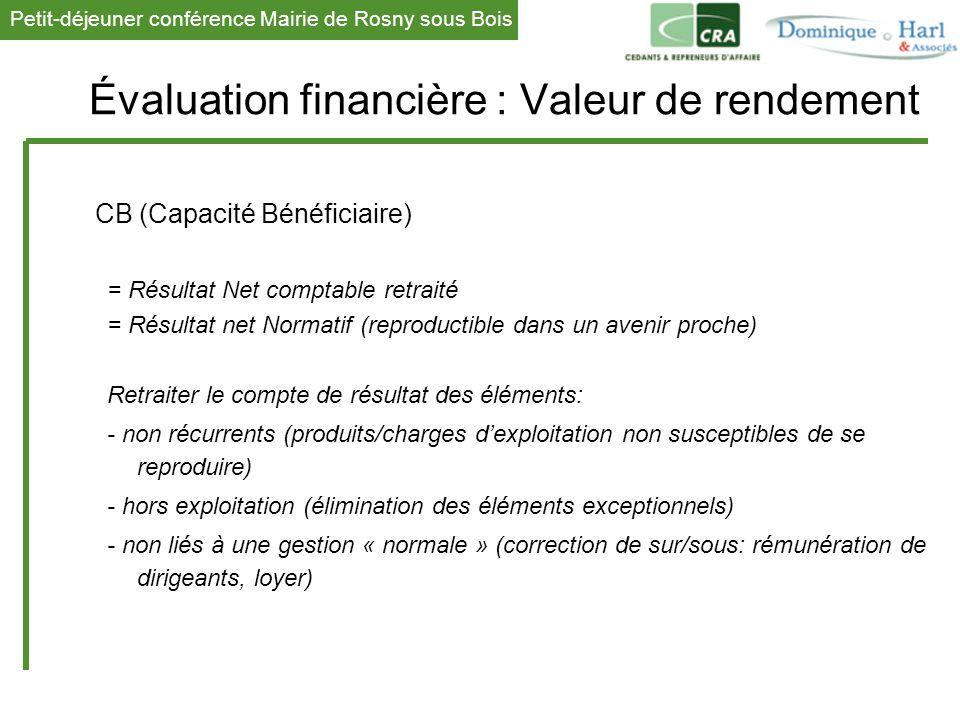 Petit-déjeuner conférence Mairie de Rosny sous Bois 1 Évaluation financière : Valeur de rendement CB (Capacité Bénéficiaire) = Résultat Net comptable