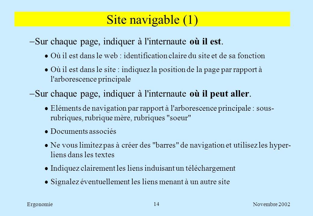 Novembre 2002Ergonomie14  Sur chaque page, indiquer à l'internaute où il est.  Où il est dans le web : identification claire du site et de sa foncti
