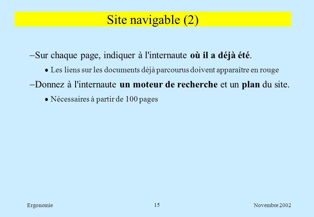 Novembre 2002Ergonomie15  Sur chaque page, indiquer à l'internaute où il a déjà été.  Les liens sur les documents déjà parcourus doivent apparaître
