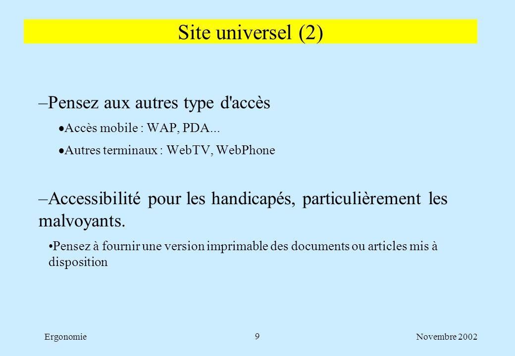 Novembre 2002Ergonomie9 –Pensez aux autres type d'accès  Accès mobile : WAP, PDA...  Autres terminaux : WebTV, WebPhone –Accessibilité pour les hand