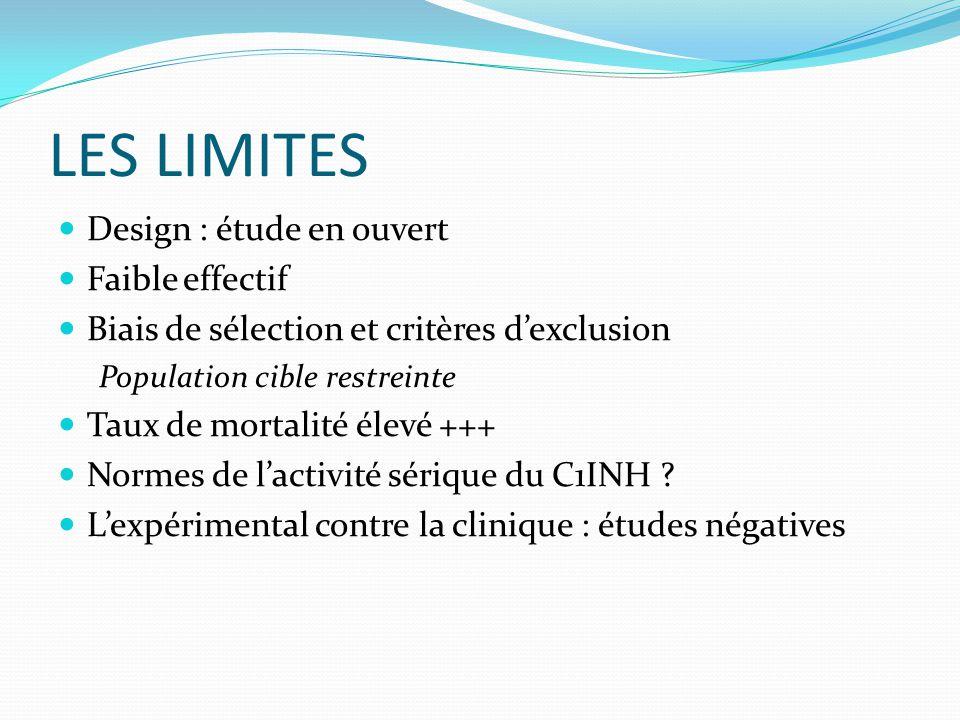 LES LIMITES Design : étude en ouvert Faible effectif Biais de sélection et critères d'exclusion Population cible restreinte Taux de mortalité élevé +++ Normes de l'activité sérique du C1INH .
