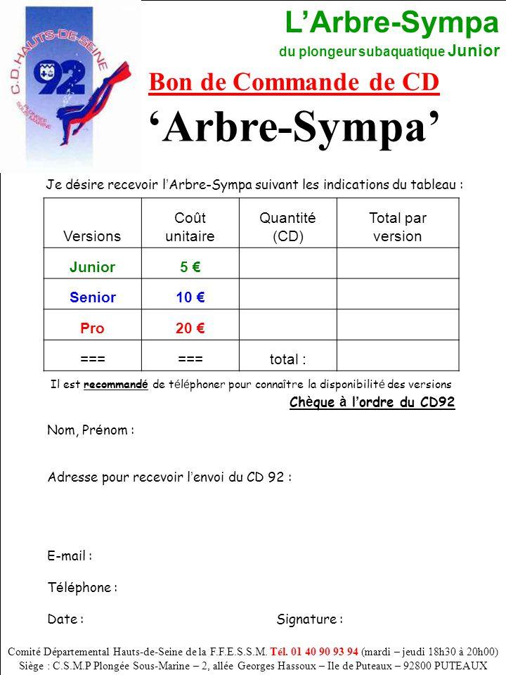 L'Arbre-Sympa du plongeur subaquatique Junior 60 Bon de Commande de CD Comité Départemental Hauts-de-Seine de la F.F.E.S.S.M. Tél. 01 40 90 93 94 (mar