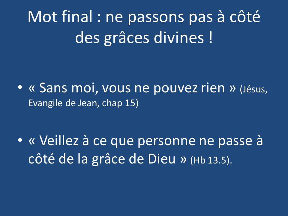 Mot final : ne passons pas à côté des grâces divines ! « Sans moi, vous ne pouvez rien » (Jésus, Evangile de Jean, chap 15) « Veillez à ce que personn