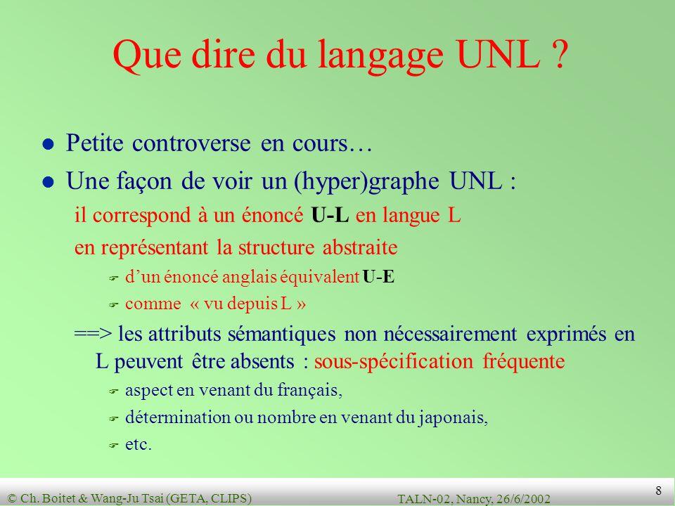 © Ch.Boitet & Wang-Ju Tsai (GETA, CLIPS) TALN-02, Nancy, 26/6/2002 8 Que dire du langage UNL .