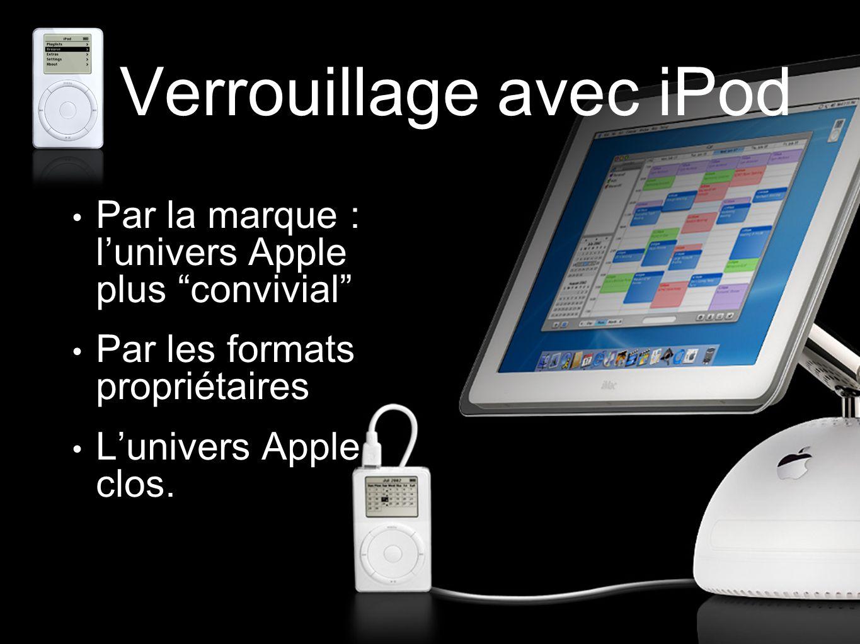 """Verrouillage avec iPod Par la marque : l'univers Apple plus """"convivial"""" Par les formats propriétaires L'univers Apple clos."""