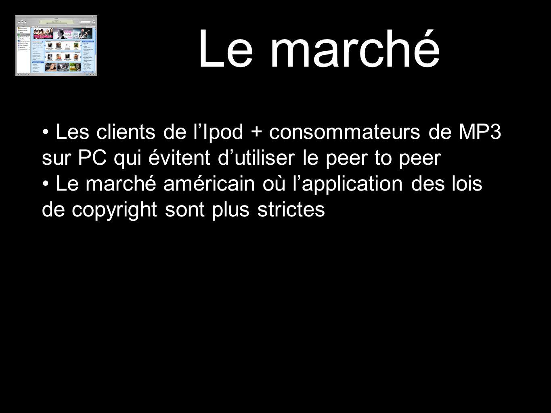 Le marché Les clients de l'Ipod + consommateurs de MP3 sur PC qui évitent d'utiliser le peer to peer Le marché américain où l'application des lois de