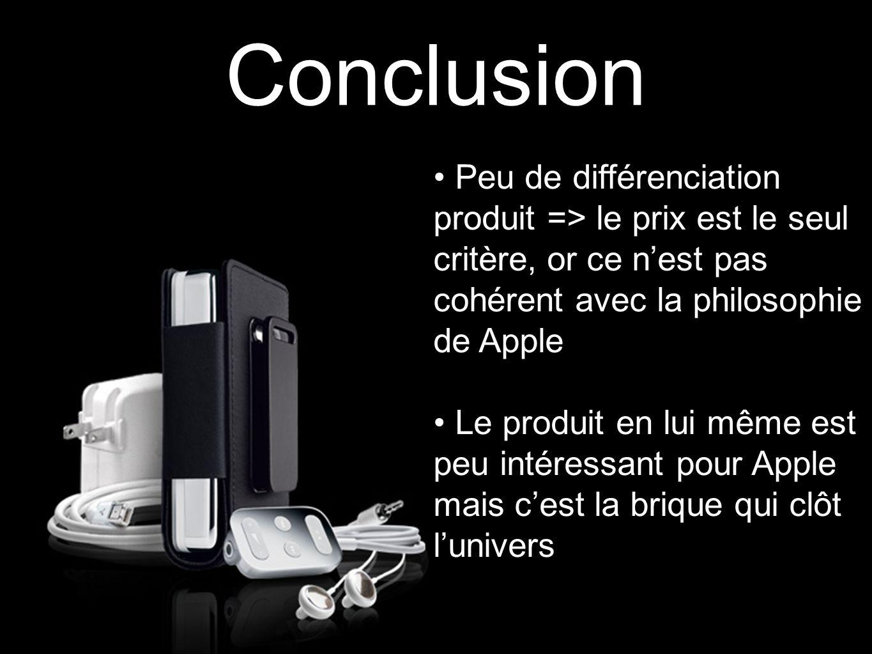 Conclusion Peu de différenciation produit => le prix est le seul critère, or ce n'est pas cohérent avec la philosophie de Apple Le produit en lui même