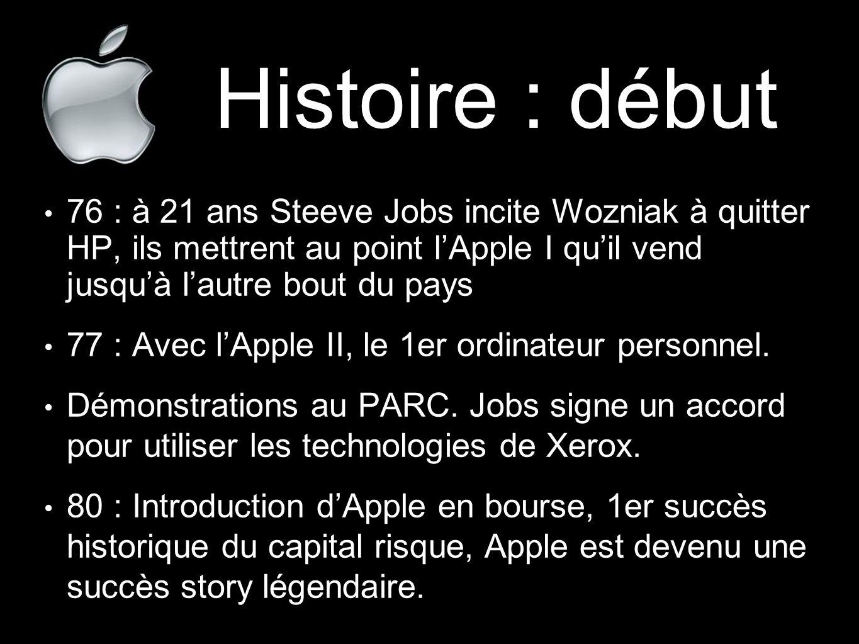 Histoire : début 76 : à 21 ans Steeve Jobs incite Wozniak à quitter HP, ils mettrent au point l'Apple I qu'il vend jusqu'à l'autre bout du pays 77 : A