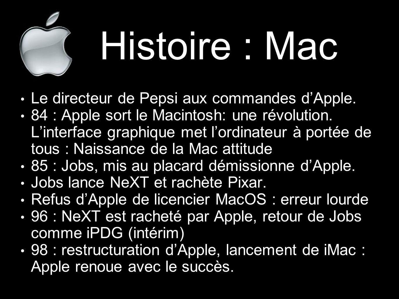 Histoire : Mac Le directeur de Pepsi aux commandes d'Apple. 84 : Apple sort le Macintosh: une révolution. L'interface graphique met l'ordinateur à por